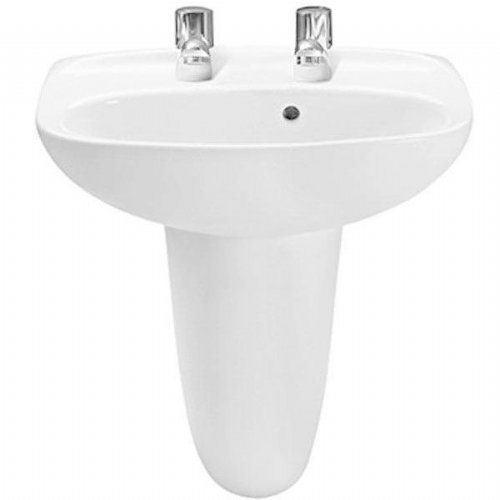 Roca Laura Round Cloakroom Basin - 450mm - 2 Tap Hole - White